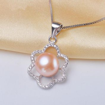 The Sail Jewellery Freshwater Pearl Pendeloque Cut Steamed Circle S925 Pure Silver Micro Zirconium Shi Taiyang FLOWER Necklace