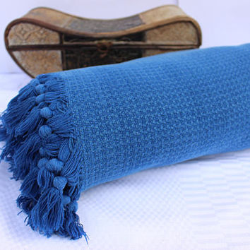 Blue Woven Blanket Hand Woven Cotton Sofa Couch Throw,Ecofriendly Seat Cover,  Arm Chair Covers EXPRESS SHiPPiNG Via UPS