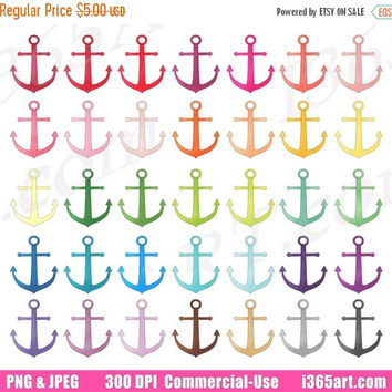 50% OFF Sale Anchor Clipart, Anchor Clip Art, Beach Ocean, Nautical, Navy Sailor Digital, Planner Sticker Graphic Icons, PNG, Commercial