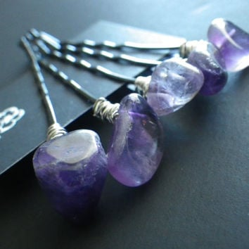 Amethyst- Set of 5- Purple- Silver- Crystal Healing Stone- Beaded Bobby Pins- Hair Fashion Trend- Accessory- Stocking Stuffer
