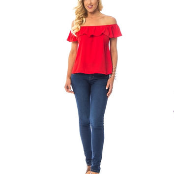 Rose Red Ruffled Off The Shoulder Blouse