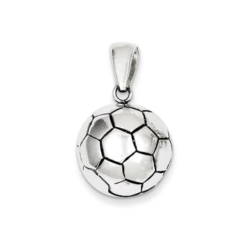 Sterling Silver 17mm Antiqued 3D Soccer Ball Pendant