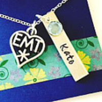 EMT Necklace, EMT Gift, Personalized Necklace, Emergency Medical Technician, EMT Graduation