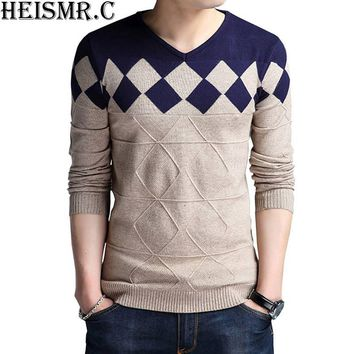 HEISMR.C Men's Sweater 2017 Winter Slim Fit Stylish Argyle Wool Pullover Sweater Men'S Casual V-Neck Knitted Sweaters HK21