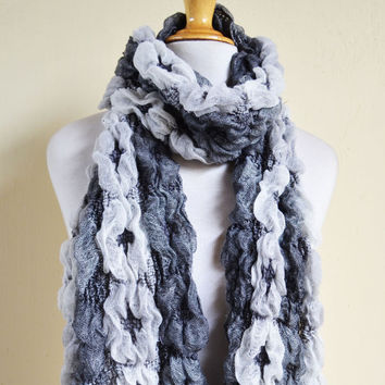 Scarf - GREYS/WHITE Fancy Scarf type II - Luxury textured long chunky scarf - Winter accessories - Unisex