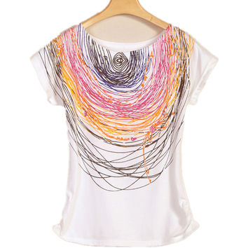 Casual Printed Cotton Vintage Short-sleeve Elastic Brand Women T-shirt