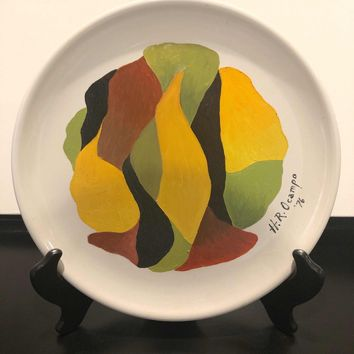 Philippine Painting Vintage oil Signed Painting Ceramic Plate 1976 3