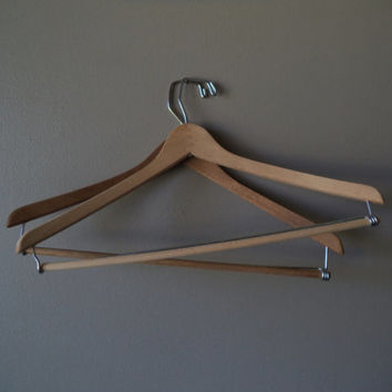 2 Vintage Clothes Hangers, Wooden Hangers, Rustic Decor, Yugoslavia Display