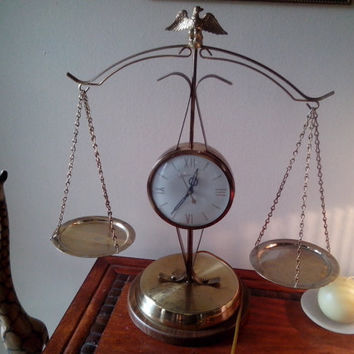 vintage united brass metal scale mantle shelf electric eagles justice wei works