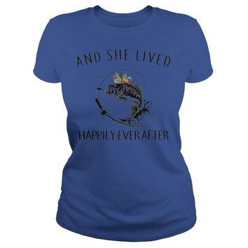 And she lived happily ever after fishing shirt Premium Fitted Ladies Tee