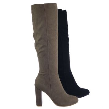 Living45 Faux Fur Inner Lining Chunky Block High Heel Knee High Slouch Boots