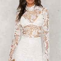 Right Lace Right Time Mock Neck Dress - White