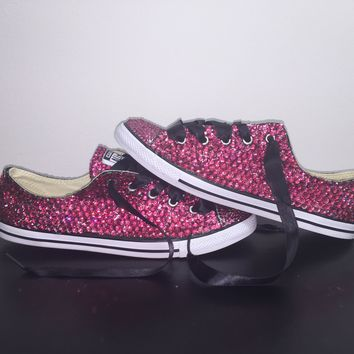 """Dainty All Star Converse """"Pretty In pink"""" With Double Fuchsia Pink Crystals & Black Laces"""