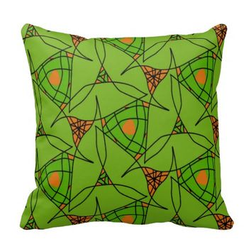 Polyester Throw Pillow Green and Orange Fall Color
