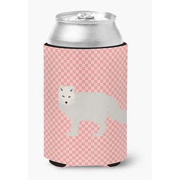 White Arctic Fox Pink Check Can or Bottle Hugger BB7877CC
