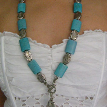 Vintage Large Heavy Chunky Faux Turquoise Silver Plated Tassel Toggle Necklace Weight 150 Grams