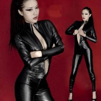 Women Sexy Lingerie Clubwear Black Punk PU Faux Leather Catsuit Women Long Sleeve Zipperfront Cosplay Costume Jumpsuit = 1931890820