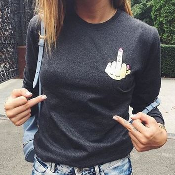 middle finger long sleeve women shirt blouse print round neck top