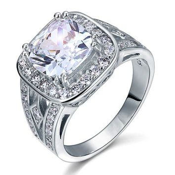 Art Deco Vintage Style 4 Carat Cushion Simulated Diamond 925 Sterling Silver Wedding Engagement Ring