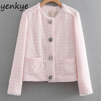 Sweet Women Single-Breasted Pink Tweed Jacket Lady Stand Collar Long Sleeve  Pockets Autumn Jacket chaqueta mujer  XNGC9310