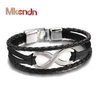 2016 New Arrival Silver plated Infinity Bracelet Bangle Genuine Leather Hand Chain Buckle friendship men women bracelet