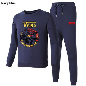 VANS 2018 autumn and winter new embroidery round neck sports pants casual sportswear two-piece Navy blue