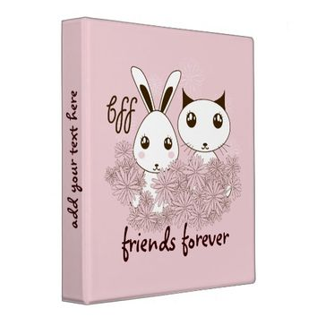 BFF - Best Friends Forever Cute Animal Girl Pink 3 Ring Binder