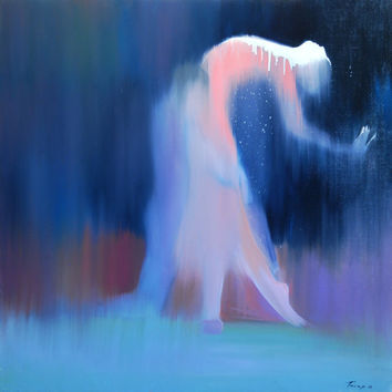 Big Abstract Ballet Oil Painting - Ballerina Couple Love Blue Dark Blue Canvas Art by Yuri Pysar