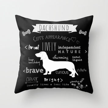 Dachshund Pillow, Dog pillow black and white Cover or/and insert 16x16 18x18 20x20 Typography pillow, Quote cushion, Dog lover Animal Pillow