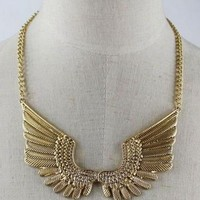 Golden Tone Wing Necklace - OASAP.com