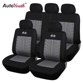 AUTOYOUTH New Style Embossed Polyester Car Seat Cover Universal Fit Most Seat Car Seat Protector Gray Car Interior Accessories