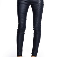 Lousie Navy Motorcycle Wet Look Trousers