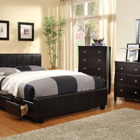 5 pc burlington contemporary style low profile storage platform queen bedroom set espresso wood finish