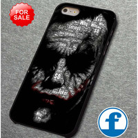 Batman joker typhography quote 2  for iphone, ipod, samsung galaxy, HTC and Nexus PHONE CASE