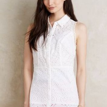 Yoana Baraschi Eyelet Sleeveless Blouse in White Size: