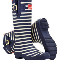 Navy Stripe Wellyprint Rain Boot - Women