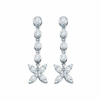 10kt White Gold Women's Round Diamond Flower Cluster Dangle Earrings 3-4 Cttw - FREE Shipping (USA/CAN)