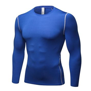 2018 Men'S Sportswear Compression T-Shirt For Gym Fitness Long Sleeve Outdoor Quick-Drying Mens Gym Black Running Shirts