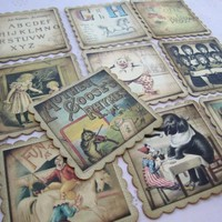 Vintage Inspired Children Story Books Tag Favor Embellishment