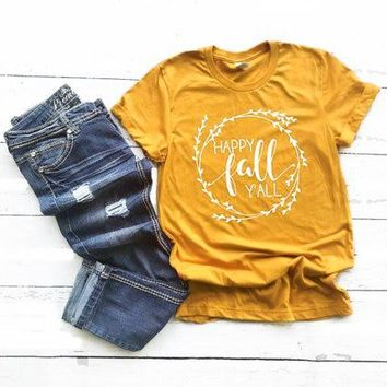 Happy Fall Y'all T-Shirt Hipster Funny Women's Graphic Tee Fall Harajuku Slogan Aesthetic Gray Tops Summer Stylish Outfits