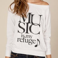 Music Is My Refuge Eco Slouchy Long Sleeve Pullover
