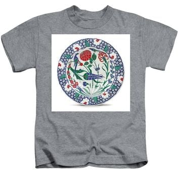 An Ottoman Iznik Style Floral Design Pottery Polychrome, By Adam Asar, No 1 - Kids T-Shirt