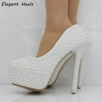 Elegant Perals heels women shoes pumps thin heels platform pumps wedding shoes white pearls shoes for wedding dress heels party