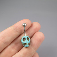 turquoise skull belly button jewelry ring,turquoise skull belly ring,lucky charm Belly Button Jewelry,summer jewelry,girlfriend gift