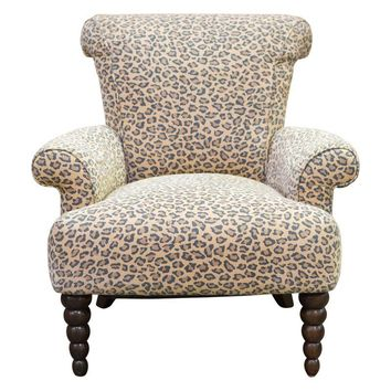 Pre-owned Leopard Print Rolled Back Arm Chair