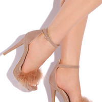 So Fancy Feather Suede Platform Heel