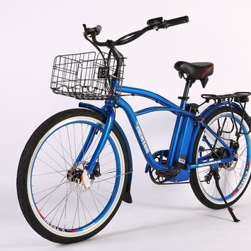 X-Treme Newport Elite Max 36 Volt Electric Beach Cruiser Bicycle Bike Metallic Blue