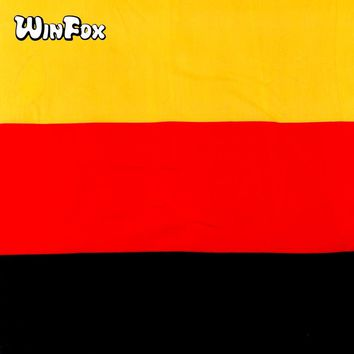 Winfox 55cm*55cm Cotton Germany Flag Casual Square Stripes Bandanas Headband Headwrap Hair Scarf For Women Men