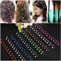 New Children Hair Accessories Hair Clip For BB Girls New Cute Artificial Crystal Snowflake Flower Shape Mini Hair Claw 6Pcs/Lot