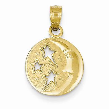 14k Yellow Gold Moon with Three Stars Pendant